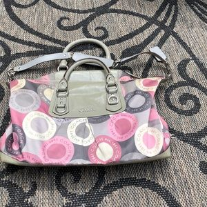 Coach Purse shades of Gray and Pink